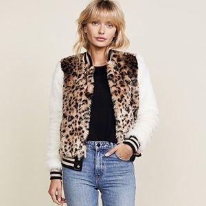 Mother faux leopard fur baseball snap jacket